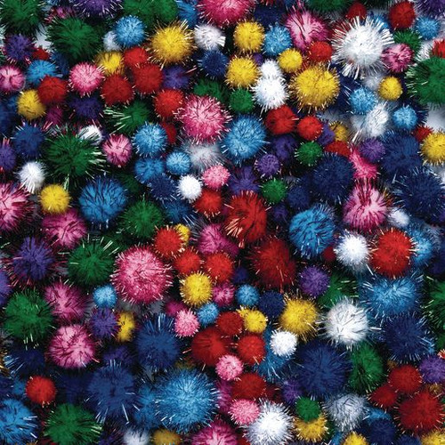 Glitter Pom Poms 200 Pieces Assorted Sizes