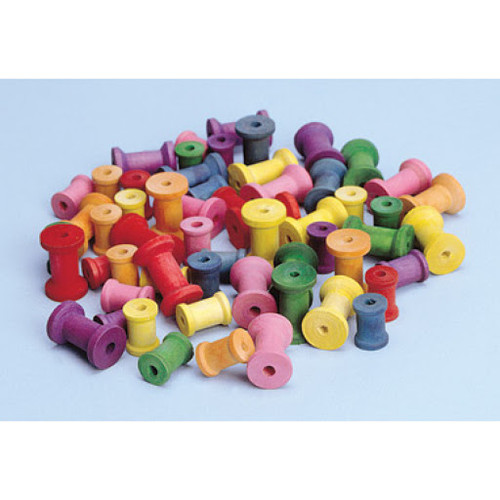 Colored Wood Spools Pack of 50
