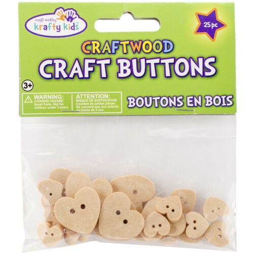 Craft Wood Heart Shaped Buttons