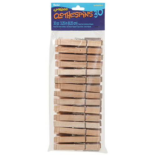 """Large Natural Spring Clothespins 3.25"""" 30 Pieces"""