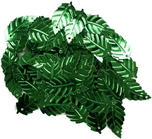"""Leaf Sequins Green 7/8"""""""