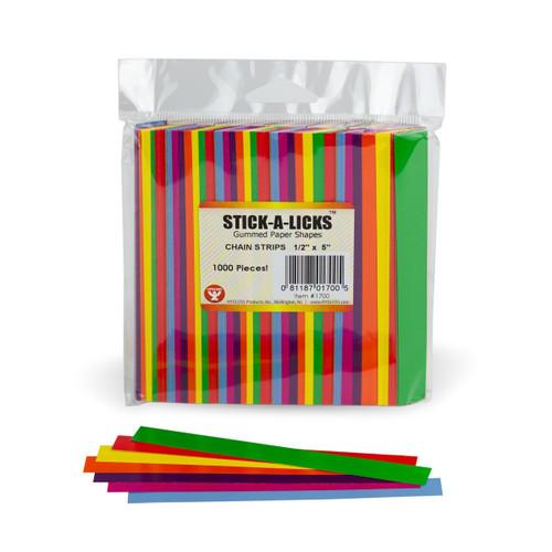 """Stick A Licks Gummed Chain Strips 1/2"""" x 5""""-1000 Pieces"""