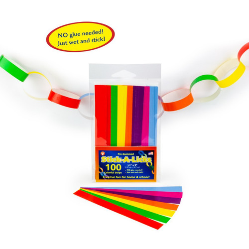 "Stick A Licks Chain Strips Assorted Colors 1/2"" x 5-100 Pieces"