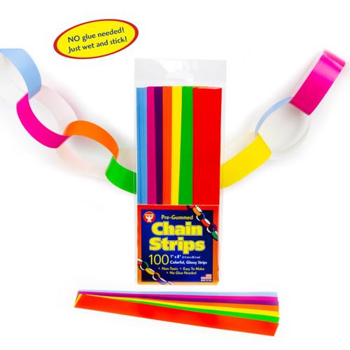 """Stick A Licks Gummed Chain Strips 1"""" X 8""""-100 Pieces"""