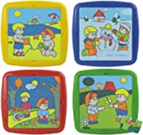 Seasons Plastic Jigsaw Puzzles Set of 4