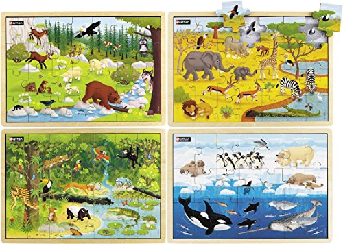 Animal Habitats Wooden Jigsaw Puzzles Set of 4