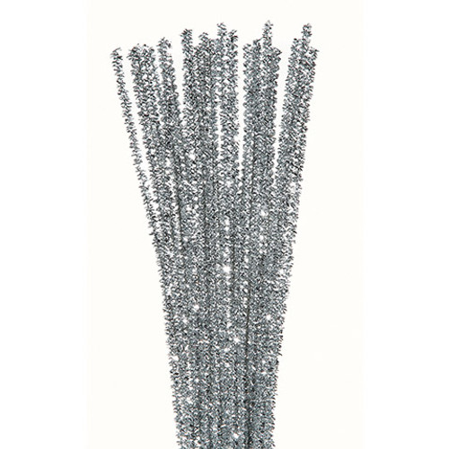 Chenille Stem Pipe Cleaners Silver 35 Pieces