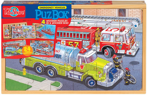 Emergency Vehicle Puzzles in a Wooden Box 4 Puzzles/Set