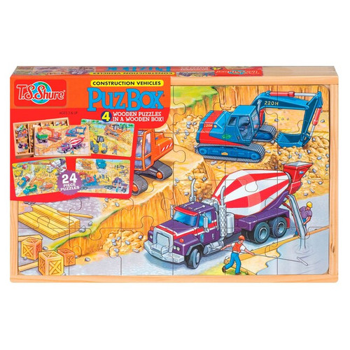 Construction Vehicles Puzzles in a Wooden Box 4 Puzzles/Set