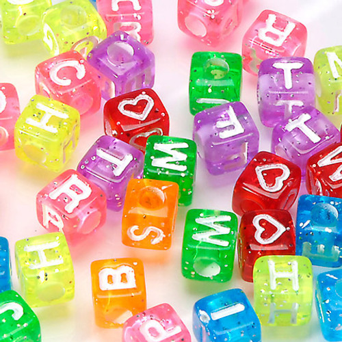 Alphabet Beads Transparent Glitter with White Letters - 8mm
