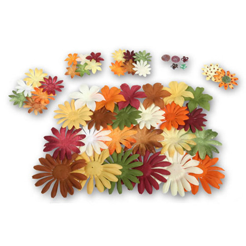 Fabric 'n Glitter Flowers Earthtones