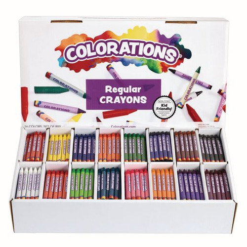 Colorations Regular Crayons 16 Colors- Set of 800