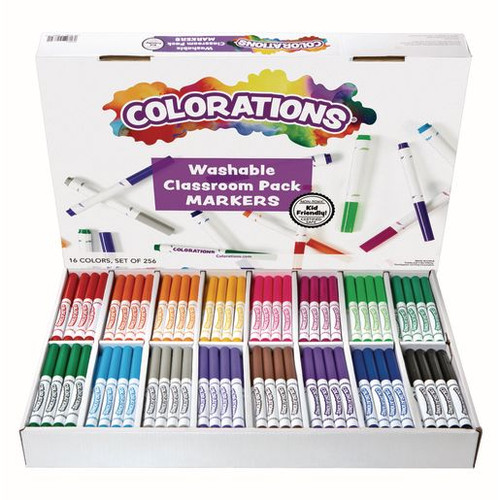Colorations Washable Classic Markers Classroom Pack - Set of 256