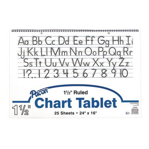 "Chart Tablets 24""x16"" Ruled 1 1/2"" Long way- 25 Sheets"