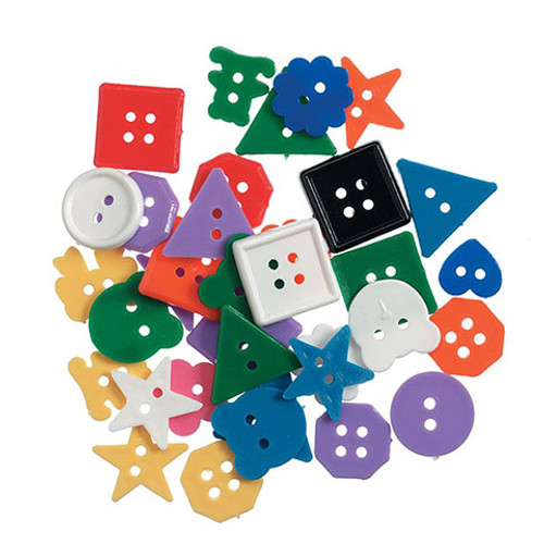 Plastic Buttons Bright Colored- 6 oz