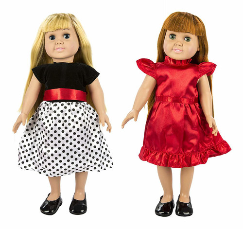 Two Doll Party Dresses and Shoes