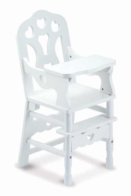 Melissa and Doug White Wooden Doll High Chair