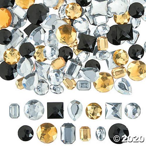 Large Black, Gold & Silver Faceted Gems