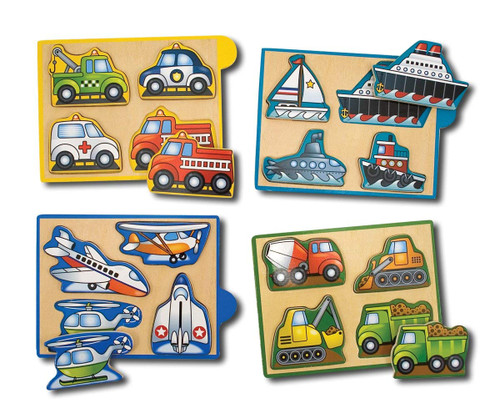 Vehicles Wooden Mini-Puzzle Set With Storage and Travel Case