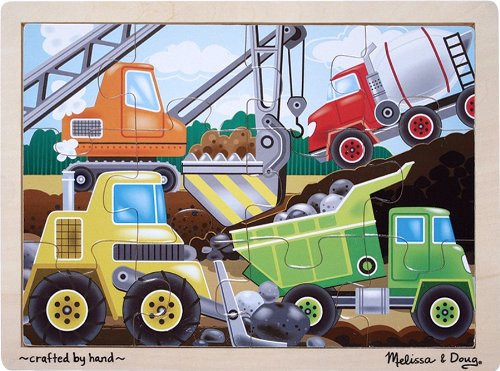 Construction Site Vehicles Wooden Jigsaw Puzzle
