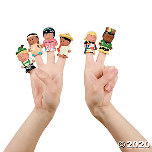 Kids Around the World Finger Puppets-12 Pieces