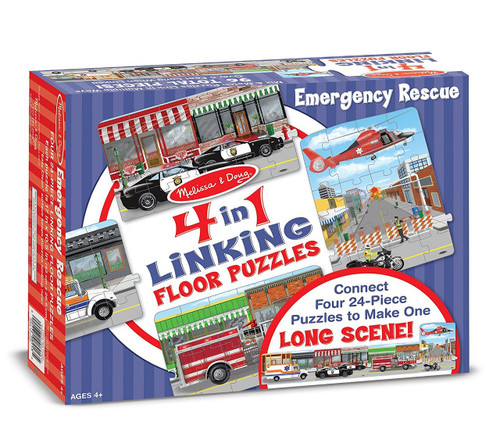 Rescue Vehicles 4-in-1 Jumbo Linking Jigsaw Floor Puzzle