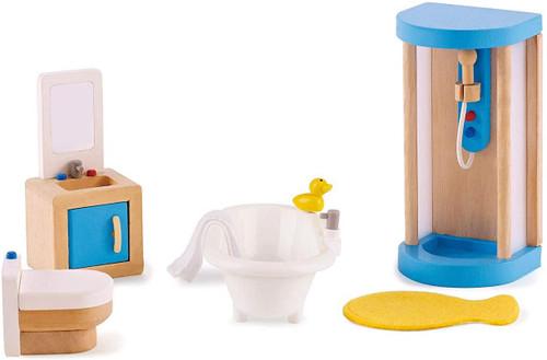 Wooden Doll House Bathroom Set