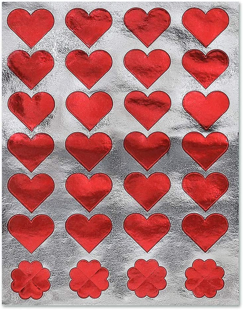 Foil Heart Red Stickers Classpack