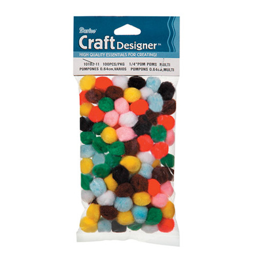 Mini Pom Poms Assorted Color- 100 pieces