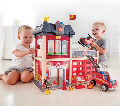 Fire Station Wooden Playset