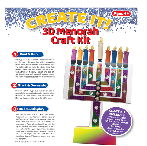 3D Menorah Craft Kit
