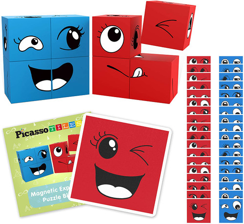 Picasso Tiles Magnetic Expression Puzzle Cube Blocks