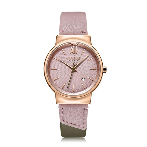 Julius Beige and Green Two Tone Watch