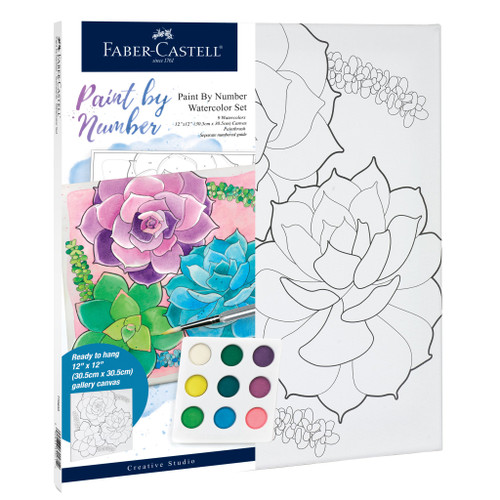 Paint by Number Watercolor Succulents