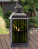 Black Mirrored Glass Lantern with Moving Flame   Square Detail
