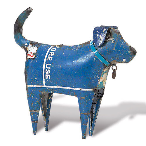 Standing Dog from Recycled Metal