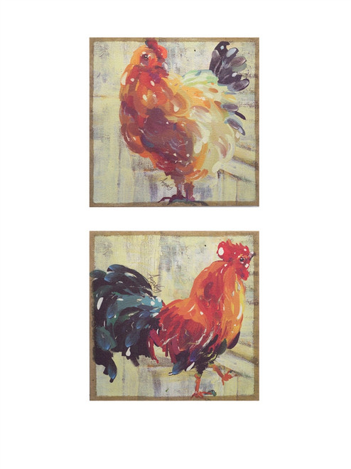 Rooster Paintings | Set of 2