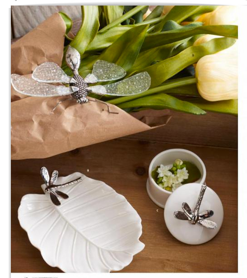 White Ceramic Box with Silver Dragonfly