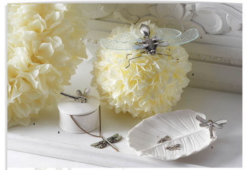 White Ceramic Dish with Silver Dragonfly