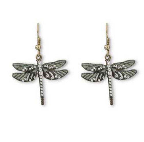 Dragonfly Earrings with Crystals