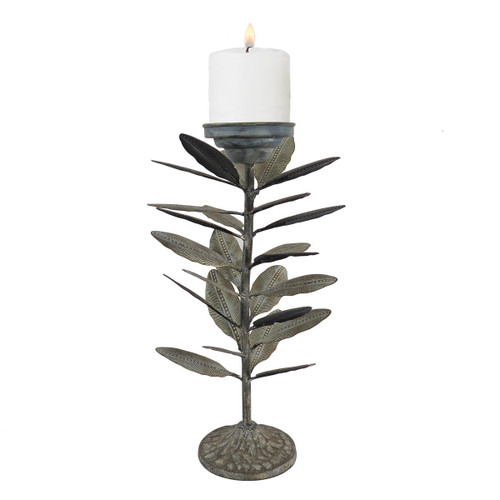 Falling Leaves Pillar Candle Holder | 12 Inch