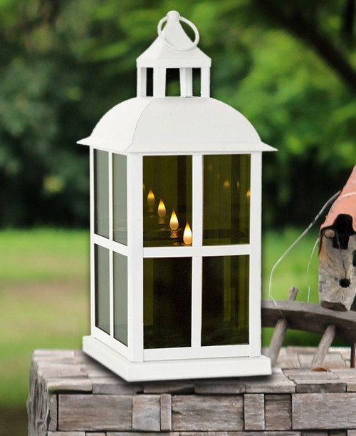Mirrored Glass Lantern with Moving Flame   Square Detail