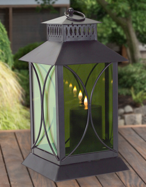 Black Mirrored Glass Lantern with Moving Flame | Round Detail