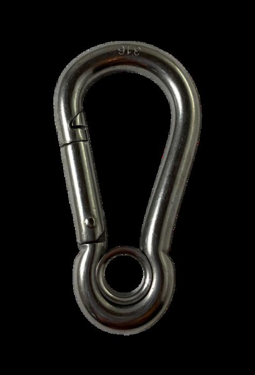 "Stainless Steel 316 Spring Hook with Eyelet Carabiner 3/8"" (9mm) Marine Grade"