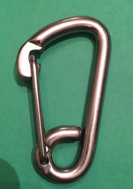 "Stainless Steel 316 Spring Hook Carabiner 5/16"" (8mm) Marine Grade Safety Clip"