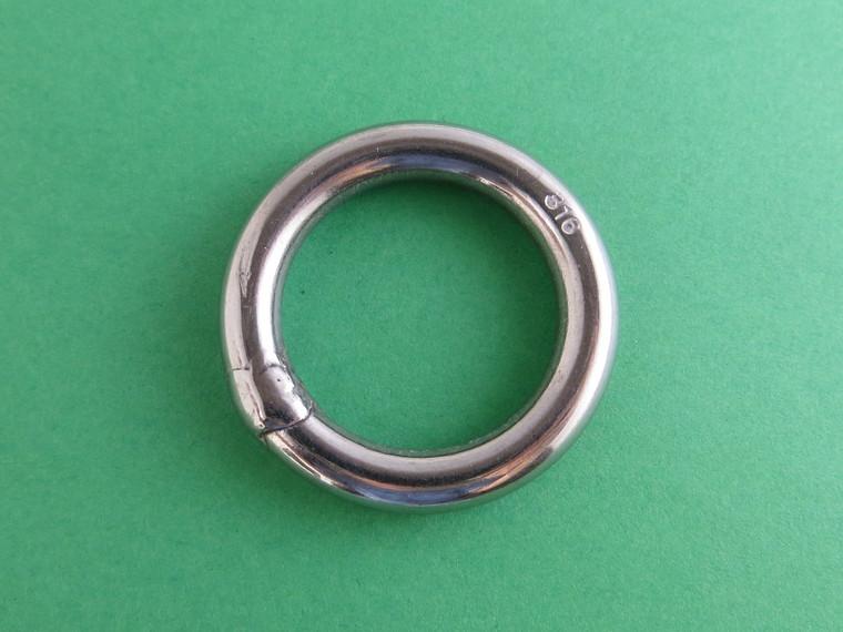 "Stainless Steel 316 Round Ring Welded 1/4"" x 1"" (6mm x 25mm) Marine Grade"