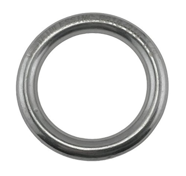 "Stainless Steel 316 Round Ring Welded 1/2"" x 3 5/32"" (12mm x 80mm) Marine Grade"