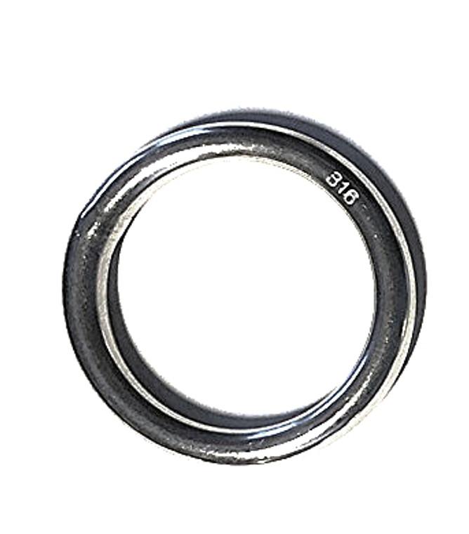 "Stainless Steel 316 Round Ring Welded 3/16"" x 1 3/8"" (5mm x 35mm) Marine Grade"