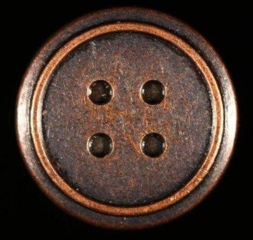Metal Brad - 4Hole Button 12/pkg - MIXED 6 Antique Silver, 6 Antique Copper