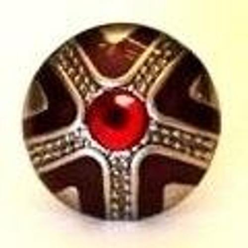 Silver Red Rhinestone Brad 12/pkg